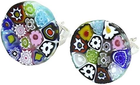 GlassOfVenice Pendientes de cristal de Murano Millefiori redondos #3