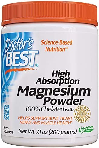 Doctor's Best High Absorption Magnesium Powder,White, 100% Chelated TRACCS, Not Buffered, Headaches, Sleep, Energy, Leg Cramps. Non-GMO, Vegan, Gluten Free, 200G