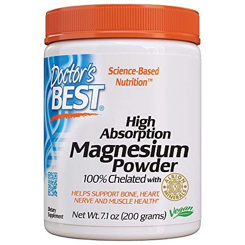 Doctor's Best High Absorption Magnesium Powder,White, 100% Chelated TRACCS, Not Buffered, Headaches, Sleep, Energy, Leg Cramps. Non-GMO, Vegan, Gluten Free, 200G