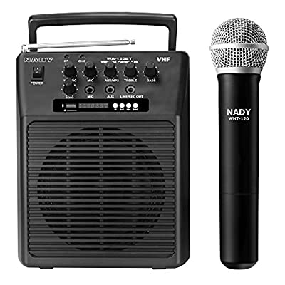 Nady WA-120BT HT Wireless Portable compact P.A full-range speaker system with built-in amplifier, BLUETOOTH, mp3 player, mixer, handheld wireless microphone with rechargeable battery