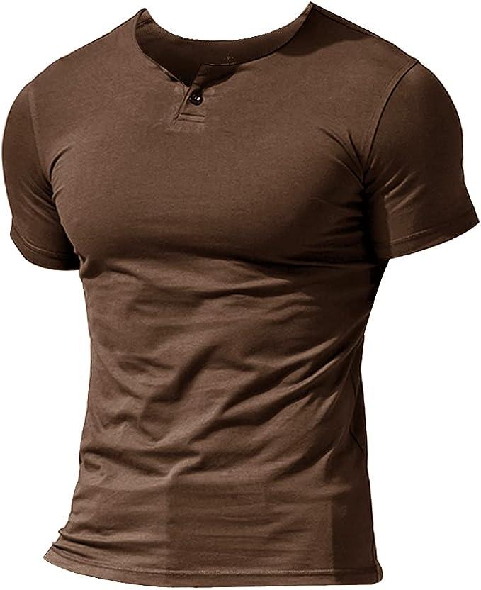 2807 opinioni per Muscle Alive Uomo Henleys Casuale Manica Corta Maglietta Singolo Pulsante