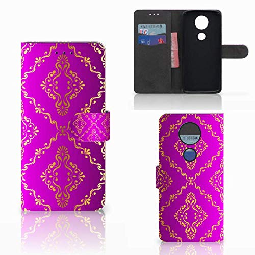 B2Ctelecom Schutzhülle passt für Motorola Moto E5 Plus Lederhülle Barok Roze
