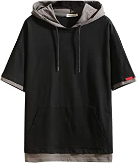 Fastbot Big Sale! Men's Summer T-Shirt Tops Solid Color Hooded Stitching Fake Two Pieces of Casual Sports Comfort Shirt