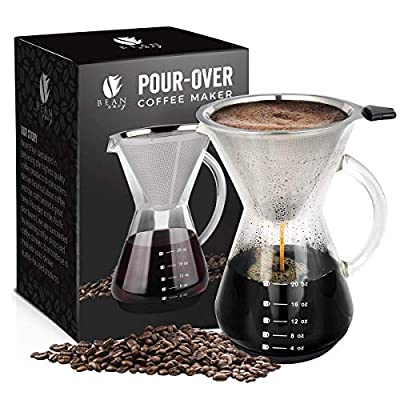 Bean Envy Pour Over Coffee Maker - 20 oz Borosilicate Glass Carafe - Rust Resistant Stainless Steel Paperless Filter/Dripper - Includes Custom Silicone Sleeve