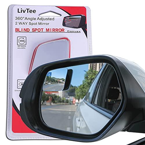 LivTee Blind Spot Mirror,Rhombus Shaped HD Glass Frameless Convex Rear View...
