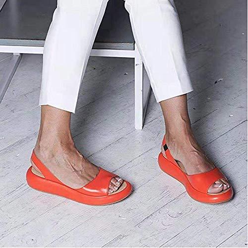 AKQITHJK Women'S Sandals,Orange Platform Fashion Elastic Band Anti-Slip Women Slippers Soft Comfortable Home High Heels Sandals Outdoor Beach Travel Casual Shoes-38