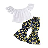 Toddler Baby Girl Sunflower Off Shoulder Ruffle Fly Sleeve Crop Top +Bell Bottom Flare Pants Outfits Clothes Set (Sunflower, 3-4 Years)