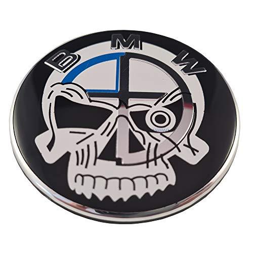 ref0001 Logo Emblema Insignia Anagrama compatible con 82 mm frontal capó coche (Skull)