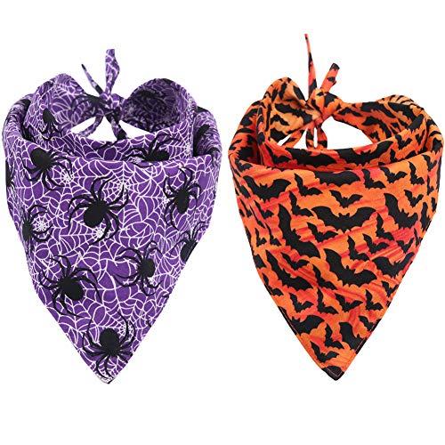 KZHAREEN 2 Pack Halloween Dog Bandana Reversible Triangle Bibs Scarf Accessories