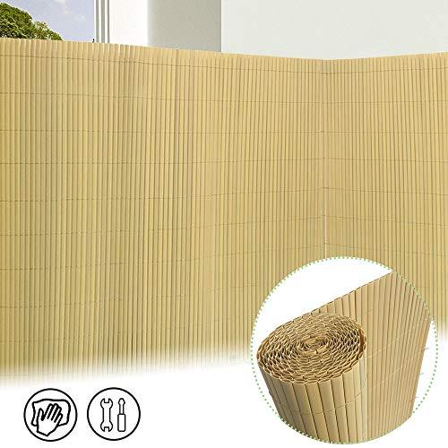 Froadp 160x500cm PVC Sichtschutzmatte Windschutz Imitat Bambus Sichtschutzzaun Verkleidung für Außenbereich Garten Balkon Terrasse(Bambus Farbe)