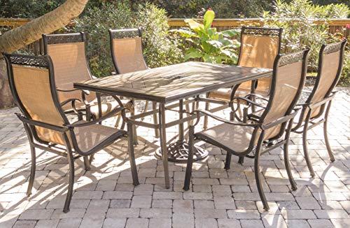 Hanover MONDN7PC-P MONDN7PC Monaco 7-Piece Rust-Free Aluminum Patio Dining Set Outdoor Furniture, Tan