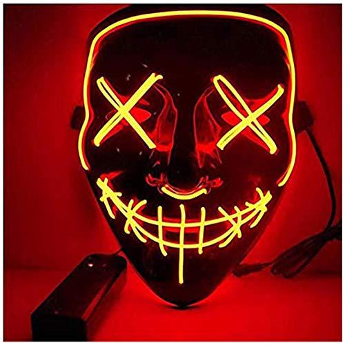 AuLinx LED Maske Halloween,Grusel Purge Mask Dunkeln Leuchten,füR KostüMspiele Cosplays Feste Partys und Deko Requisiten füR Erwachsene MäNner Und Frauen (Red)