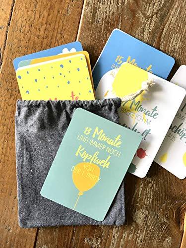 Meilensteinkarten für das zweite Lebensjahr | 1. Geburtstag | 12 Monate | DIN A6 | 12 Karten mit frechen Sprüchen | abgerundete Ecken | Baby Kleinkind | Mädchen und Jungen | Hand verpackt