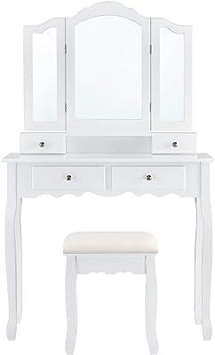 ArtLife Schminktisch Emma mit Spiegel, Hocker und 4 Schubladen | weiß | MDF Holz | Frisiertisch Kosmetiktisch Landhausstil Make-up Table
