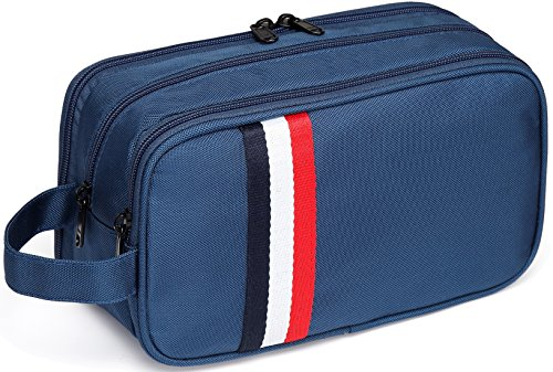 Large Toiletry Bag,VASCHY Waterproof Travel Kit Case for Makeup, Cosmetic, Shaving with Separate Compartments Blue