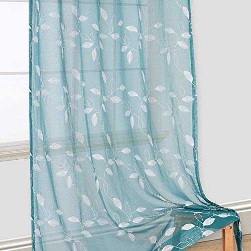 Haperlare Leaves Embroidered Sheer Curtains for Living Room 84 inches Long Teal Sheers Curtain Panels, Bedroom Leaf Embroidery Grommet Window Treatment, 52 x 84 Inch, 2 Panels