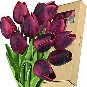 Silk Flower Arrangements FiveSeasonStuff Tulips Artificial Flowers | Real Touch | Wedding Bouquet Home Décor Party | Floral Arrangements | 15 Stems (Mulberry Maroon)