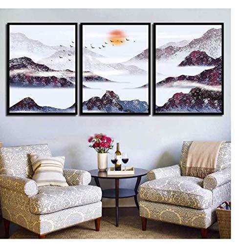 ZKPYY Zonsopganglandschapsdiamant, de doe-het-zelf ambachtelijke verzorging van de Alpine volledig diamantborduurwerk mozaïek-triptychons schilderslijst 40 * 60cmx3pcs
