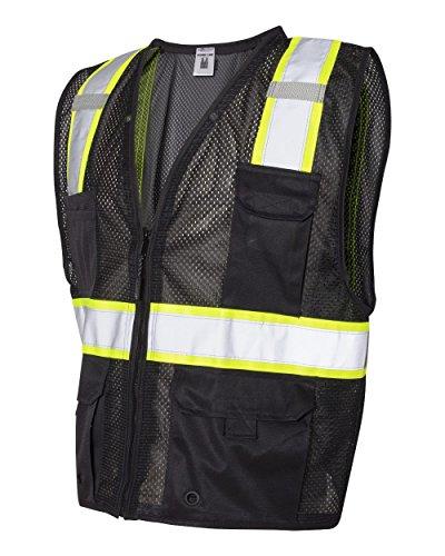 ML Kishigo Mens Enhanced Visibility Multi-Pocket Mesh Vest - Black, Large/XL, Model Number B100-L-XL