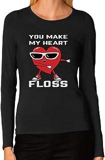 Tstars - Funny You Make My Heart Floss Valentine's Day Women Long Sleeve T-Shirt