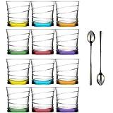 Lav 12 teiliges Wassergläser Saftgläser Trinkgläser Getränkegläser Coral 320 ml inkl. Longdrinklöffel - Spülmaschinengeeignet - Bunt