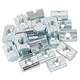 ROSEBEAR 20 Unids/Lote Tuercas de Cabeza de Martillo Chapadas en Zinc Tuerca de Ranura en T Deslizante de Acero Al Carbono para Accesorios de Aluminio Sujetador