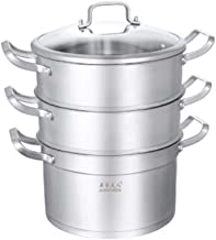 HJRD 304 Stainless Steel Steamer 3 Layers, Household Soup Pot Steamer Double Bottom Thick Three-layer Pot Non-stick Pot (C...