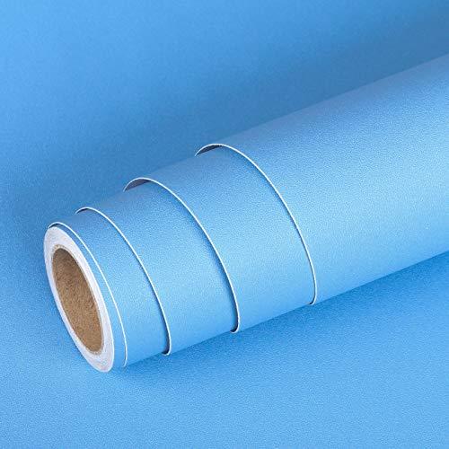 Livelynine Klebefolie Blau Selbstklebend Tapete Blau Hell Wandtapete Selbstklebend Möbelfolie für Kinderzimmer Schlafzimmer Wohnzimmer Flur Möbel Wand Tapete Badezimmer Wasserfest Dekofolie 40CMx2M