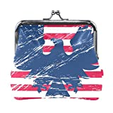 Monedero de piel con estampado de bandera patriótica, bolso de mano
