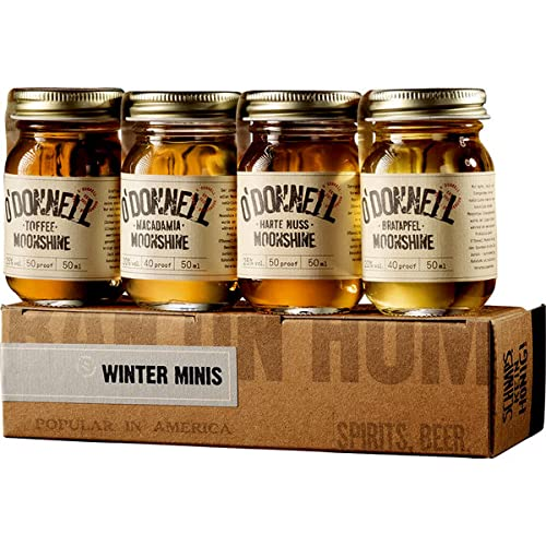 O'Donnell Moonshine Winter-Set Mini Moonshine Harte Nuss, Bratapfel, Toffee und Macadamia a 50ml (4 x 50ml)