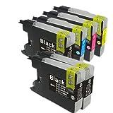 むさしのメディア BROTHER(ブラザー) LC12-4PK+BK2 (4色セット+黒2個) 互換インクカートリッジ
