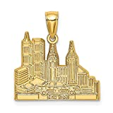 14k Yellow Gold Cut-Out New York Skyline with Taxi Charm Pendant