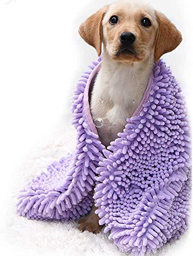 CHYIR Toalla de baño súper absorbente para mascotas de secado rápido y lavable a máquina, toallas de microfibra para perros pequeños y medianos (L, morado)
