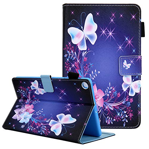 8 inch Tablet Case for SM-T290/SM-T295/SM-T297, Galaxy Tab A 8 Case 2019, Coopts Slim PU Leather Shockproof Multi-Angle Viewing Stand Wallet Case for Samsung Galaxy Tab A8 2019 T290,Floral & Butterfly
