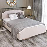 LIKIMIO Full Size Bed Frame with Headboard Height Adjustable, Platform Bed Frame Full with 12 Widened Wooden Slats, Sturdy and Noise-Free, No Box Spring Needed