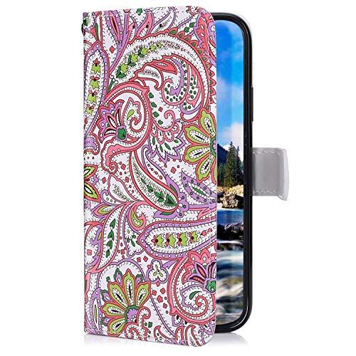 Uposao Kompatibel mit Samsung Galaxy Note 9 Hülle mit Bunt Muster Motiv Brieftasche Handyhülle Leder Schutzhülle Klappbar Wallet Tasche Flip Case Ständer Ledertasche Magnet,Rosa Blumen