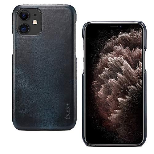 QfireQ Funda iPhone 11/12/12 Pro/12 Pro MAX Moda Cuero Carcasa Anti Huella Digital Antideslizante Protección de Todo el Cuerpo Cáscara de Cuero Cuero Encerado al Aceite Retro,Azul,12 Pro MAX