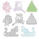GLOBLELAND 4pcs Metal Merry Christmas Cutting Dies Stencils Santa Claus Sleigh Reindeer Christmas Tree for DIY Scrapbooking Album Decorative Wedding Invitation Card Making