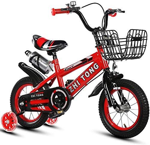Bambini Bicicletta con rotelle di addestramento 12/14/16/18 Pollici 2-9 Years Old Kids Bike Esercizio con stabilizzatori e Bottle Shock Absorbing-Mountain Pneumatici (Color : Red, Size : 16 inch)