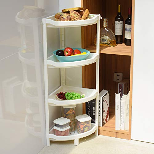 4-Tier Plastic Triangle Storage Rack,Multipurpose Corner Shelf for Kitchen,Living Room,Bathroom(White)