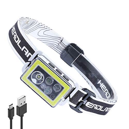 LUXJUMPER Linterna Frontal LED USB Recargable, XPG+COB LED Sensor De Movimiento Linterna,...