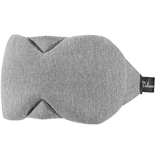 Baumwolle Schlafmaske Damen und Herren, Voluex Schlafbrille mit verstellbarem Band, 100{df098e0e8a45013116fa97d89e08471b3b49d22d72913dd9345d3380d5c313a7} Lichtblockierung, super weich und komfortabel für Reisen, Schichtarbeit und Nickerchen. Inklusive Ohrstöpsel