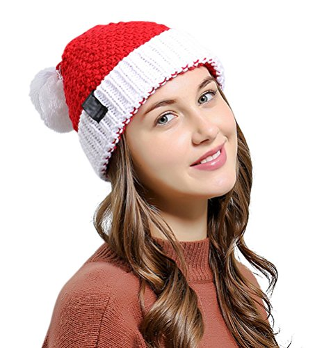 HINDAWI Santa Hat Christmas Beanie Winter Hats for Women Pom Pom Knitted Ski Knit Warm Slouch Skull Caps