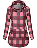 Miusey Boutique Clothing for Women,Pullover Sweatshirt Long Sleeve Classic Plaid Style Tunic Top Autumn Blouse with Pockets Fashion Sleek Stretchy Cozy Jersey T Shirts Pink Grey XL