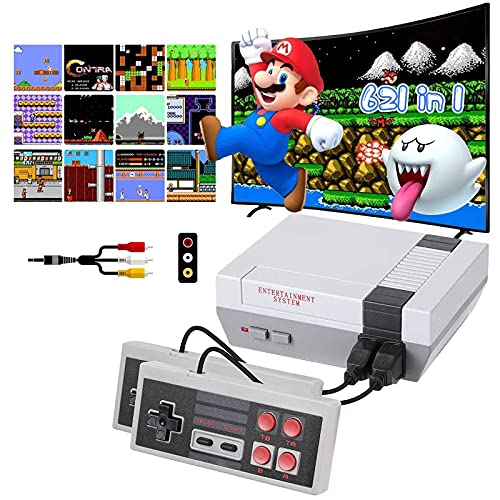 Classic Mini Retro Game Console with Build-in 620 Video Games and 2 NES Classic Controllers,Old School Video Game System, Mini Classic NES Console for Kids and Adults,Ideal Birthday Gift