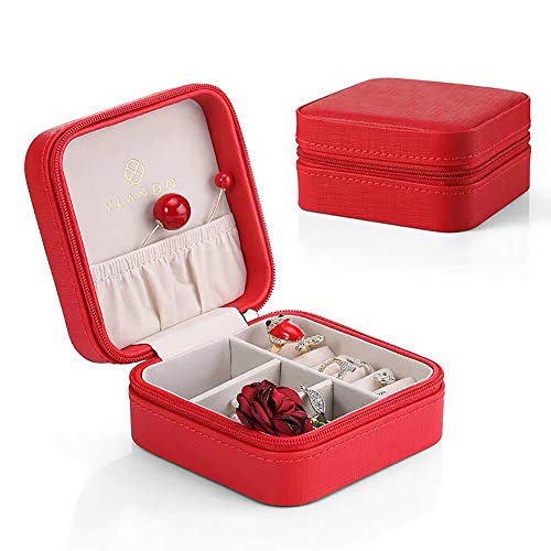 Vlando Small Faux Leather Travel Jewelry Box Organizer Display Storage Case for Rings Earrings Necklace, Christmas Red
