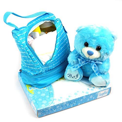 DrawerProps - Cesta regalo bebé con mochila con champu, colonia, toallitas, crema protectora y pañales, osito de peluche, body, babero y gorro (Azul)