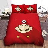 Amacigana® Super Mario Anime - Juego de cama 3D con funda de edredón y funda de almohada 3D para cama individual (135 x 200 cm)