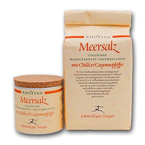 Sanquell GmbH Khoysan Meersalz mit Chili & Cayennepfeffer   naturbelassen   eines der besten Salze der Welt   1kg Nachfüllbeutel & 200g Deko-Box (gefüllt)