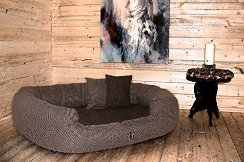 tierlando® orthopädisches Hundesofa BALOU Hundebett Visco Plus Matratze | Handwebcharakter | Premium-Lounge: Größe: XL - 110x85cm | Farbe: 01 Braun